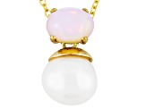 Cultured Freshwater Pearl With Opal 18k Yellow Gold Over Silver Pendant 9mm