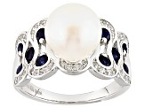 Cultured Freshwater Pearl With Sapphire And Zircon Rhodium Over Silver Ring 10mm