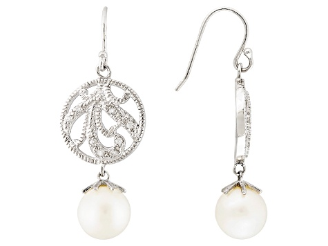 Cultured Freshwater Pearl With Zircon Rhodium Over Sterling Silver Earrings 9mm