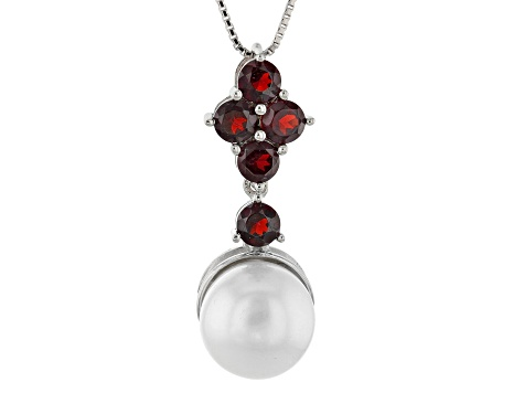 Cultured Freshwater Pearl And Garnet Rhodium Over Silver Pendant With Chain 12mm