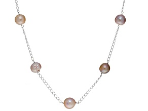 Cultured Multi-Colo Kasumiga Pearl Sterling Silver Necklace 10-11mm