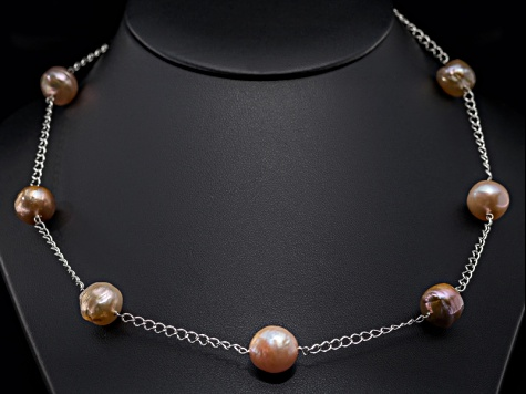 Multi-Color Cultured Kasumiga Pearl Sterling Silver Necklace 10-11mm