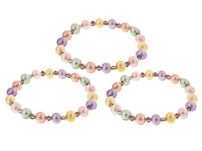 Pastel Multi-Color Cultured Freshwater Pearl, Crystal Stretch Bracelet Set