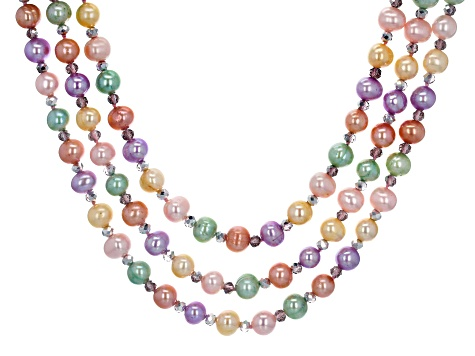 Pastel Multi-Color Cultured Freshwater Pearl, Crystal Silver Necklace
