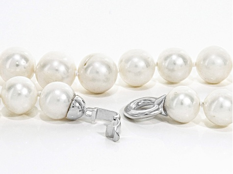 Grande White Cultured Freshwater Pearl Rhodium Over Silver Necklace