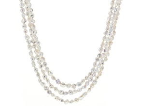 White Cultured Freshwater Pearl Silver Multi-Strand Necklace 32 inch