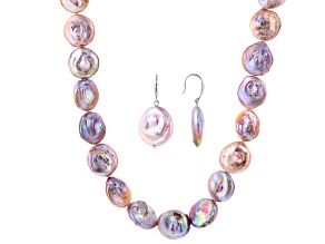 Coin Pink Cultured Freshwater Pearl Silver Necklace And Earring Set
