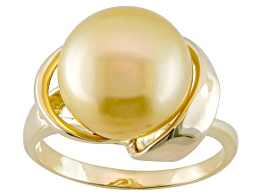 Golden Cultured South Sea Pearl 14k Yellow Gold Ring 10mm