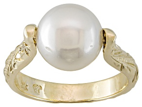 White Cultured Australian South Sea Pearl 14k Yellow Gold Ring