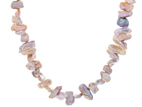 Lavender Cultured Freshwater Pearl Silver Strand Necklace 18 inch
