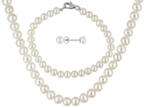 White Cultured Freshwater Pearl Rhodium Over Silver Child's Jewelry Set 3-4mm