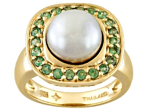Cultured Freshwater Pearl And Alexandrite 18k Yellow Gold Over Silver Ring