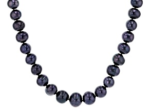 Womens Pearl Necklace Strand Black Freshwater Pearl Rhodium Over Sterling Silver