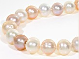 11-12mm Multi-Color Cultured Freshwater Pearl Rhodium Over Sterling Silver 20 inch Necklace
