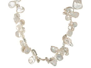 White Cultured Freshwater Pearl Keshi Rhodium Over Silver Necklace