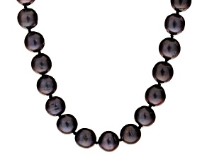 Black Cultured Freshwater Pearl Silver Necklace 36 inch 11-12mm