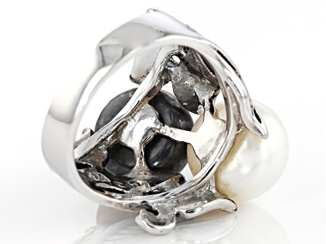 Black And White Cultured Freshwater Pearl Rhodium Over Silver Ring