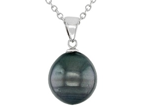 Black Cultured Tahitian Pearl Rhodium Over Sterling Silver Pendant
