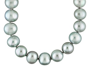 Silver Cultured Freshwater Pearl Rhodium Over Silver Strand Necklace 10-11mm