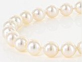 White Cultured Japanese Akoya Pearl 14k Yellow Gold Strand Necklace