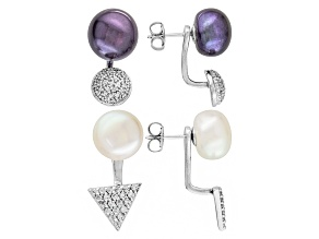 Cultured Freshwater Pearl, White Topaz Silver Swing Earring Set Of 2
