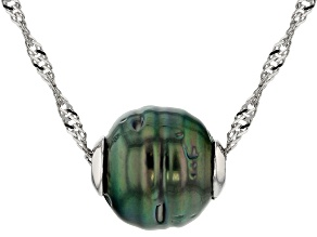Cultured Tahitian Pearl Sterling Silver Pendant With Chain 22 inch
