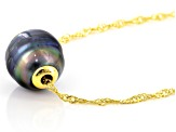 Cultured Tahitian Pearl 18k Yellow Gold Over Sterling Silver Pendant With Chain 22 inch