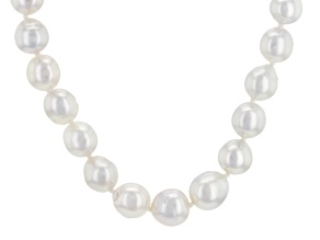 Silver Cultured South Sea Pearl Rhodium Over Sterling Silver Necklace 17 inch