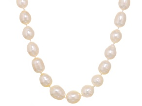 White Cultured Australian South Sea Pearl Rhodium Over Silver Strand Necklace 17 inch