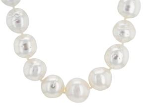 White Cultured Australian South Sea Pearl Rhodium Over Silver Strand Necklace 17 inch