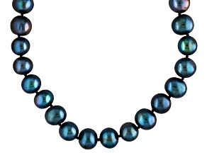 Strand Necklace Black Freshwater Pearl Sterling Silver 40 inches