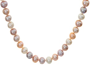 Natural Multi-Color Cultured Freshwater Pearl Silver Strand Necklace