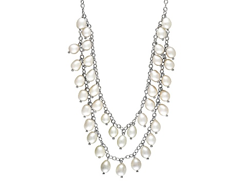 Womens Double Stand Necklace Cultured Freshwater Pearl Sterling Silver -  BPM011  bacd20fce1