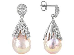 Womens Dangle Earrings Lavender Cultured Freshwater Pearl Topaz Silver