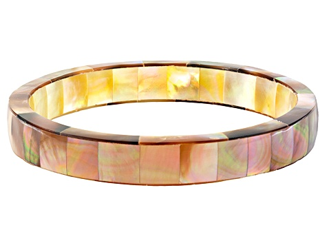 Womens Bracelet Set Golden White Champagne South Sea Mother Of Pearl