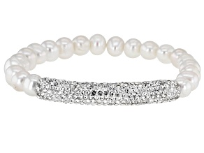 White Freshwater Pearl White Crystal Silver Tone Stretch Bracelet