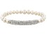 White Cultured Freshwater Pearl White Crystal Silver Tone Stretch Bracelet