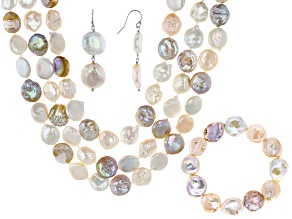 White Cultured Freshwater Pearl Silver Strand Jewelry Set
