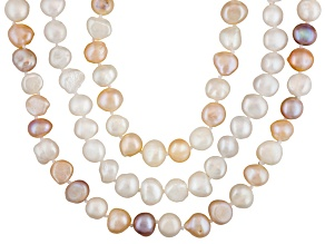 Womens White Pink Peach Lavender Pearl Necklace Set Of Three
