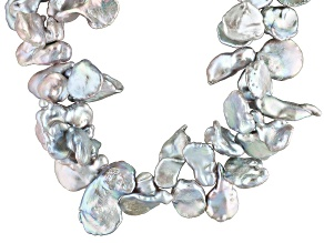 Silver Cultured Keshi Freshwater Pearl Silver Necklace 30 inch