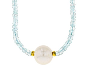Cultured Freshwater Pearl With Aquamarine 18k Yellow Gold Over Silver Necklace 12-15mm