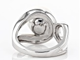 White Cultured Freshwater Pearl 11-11.5mm Rhodium Over Sterling Silver Ring