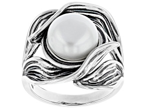 White Cultured Freshwater Pearl 9.5-10mm Sterling Silver Ring