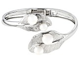 White Cultured Freshwater Pearl 7-10.5mm Rhodium Over Sterling Silver Bangle