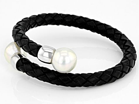 White Cultured Freshwater Pearl 11-12mm With  Black Leather & Rhodium Over Sterling Silver Bracelet