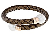 White Cultured Freshwater Pearl 11-12mm With Brown Leather & 18k Rose Gold Over Silver Bracelet