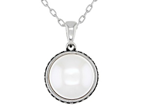 White Cultured Freshwater Pearl 11-12mm Rhodium Over Sterling Silver Pendant With Chain