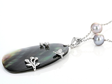 Tahitian Mother-of-Pearl, Cultured Freshwater Pearl, Cubic Zirconia Rhodium Over Silver Necklace