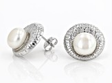 White Cultured Freshwater Pearl 9-10mm Rhodium Over Sterling Silver Stud Earrings
