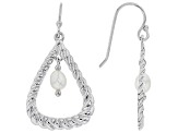 White Cultured Freshwater Pearl 4-5mm Rhodium Over Sterling Silver Dangle Earrings